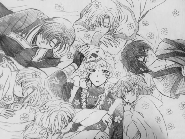 お昼寝をする姿の暁のヨナのイラスト
