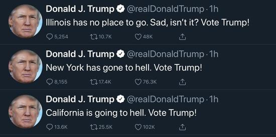 【画像】トランプ大統領、とうとう自分に不利な州を攻撃してしまうwww