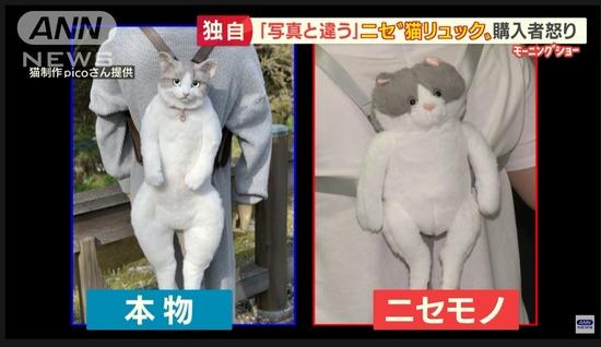 【画像】日本人さん、ウキウキで「猫リュック」買うもとんでもない偽物が届いてしまうwwwwww