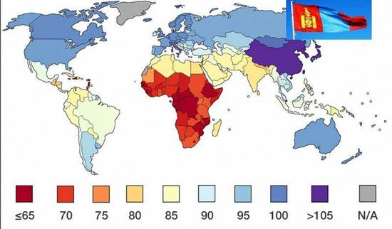 【画像】世界地図の知能指数ランキングwwwwwwwwww