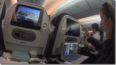 添乗先に向かう飛行機内