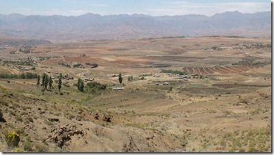 レソトの高原の風景