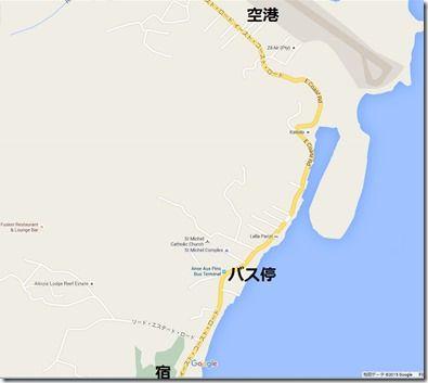 セイシェル安宿tropical residenceへのマップ