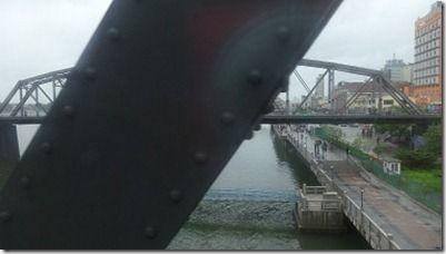 中朝国境の橋の上からの中国側