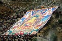 The large portrait of Buddha in Drepung