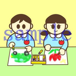 イラストレイン「お絵かきをしている園児」