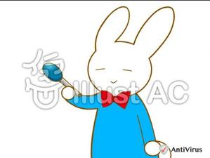イラストAC「マイクを向けるウサギ」