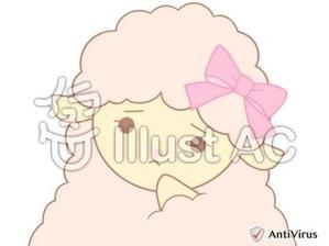 イラストAC「考えるピンクのひつじちゃん」01