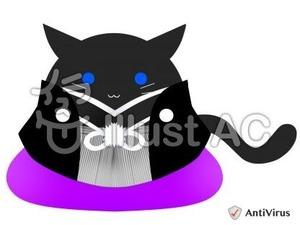 イラストAC「黒猫紋付」