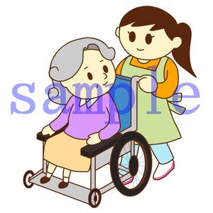 イラストレイン「車いすのおばあさんと女性スタッフ」
