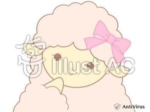 イラストAC「ピンクのひつじ(微笑み)」03