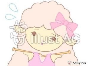 イラストAC「編み物をしているひつじ(ピンク)」03