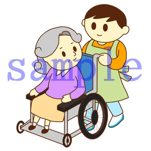 イラストレイン「車いすのお婆さんと男性スタッフ」01
