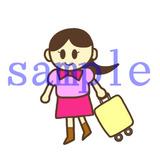イラストレイン「旅行カバンを持った女性」