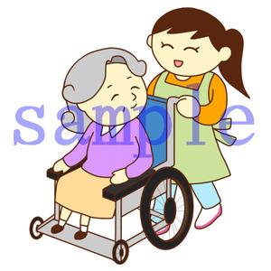 イラストレイン「車いすのおばあさんと女性スタッフ」02