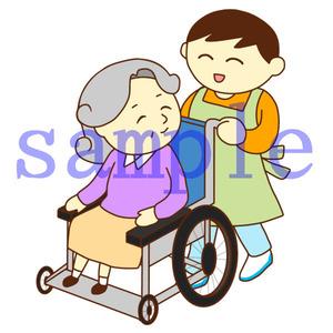イラストレイン「車いすのお婆さんと男性スタッフ」02
