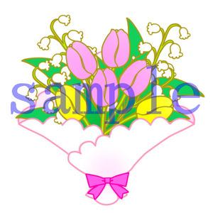 イラストレイン「チューリップの花束」