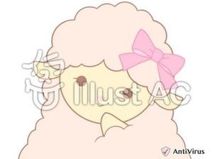 イラストAC「ピンクのひつじ(微笑み)」02