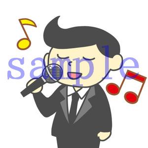 イラストレイン「歌う男性(スーツ)」