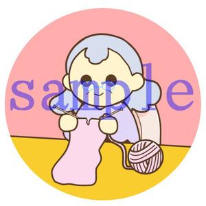 イラストレイン「編み物をしているおばあさん」