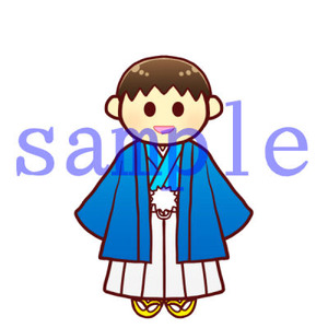 イラストレイン「紋付袴の男の子」