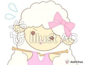 イラストAC「編み物をしているひつじちゃん」02