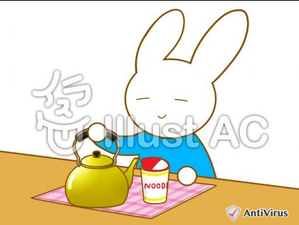 イラストAC「カップ麺を食べるウサギ」