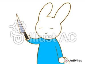 イラストAC「包丁を持つウサギ」