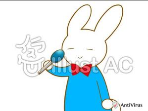 イラストAC「マイクを持つウサギ」