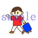イラストレイン「旅行カバンを持つ男性」