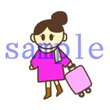 イラストレイン「旅行カバンを持つ女性」