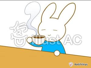 イラストAC「お茶を飲むウサギ」