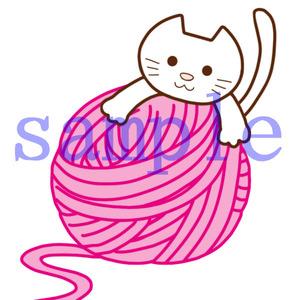 イラストレイン「毛糸玉とネコ」