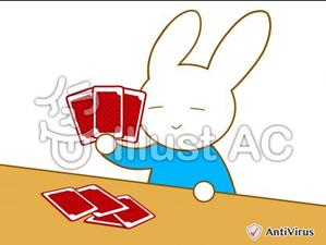 イラストAC「カードゲームするウサギ」