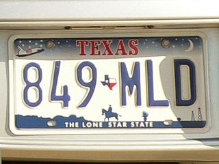 テキサス州のナンバープレート