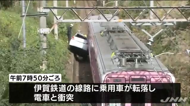 車が線路に転落し電車と衝突、三重・伊賀市|BIGLOBEニュース