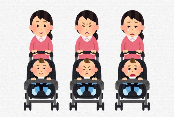 ベビーカーを押すお母さんの表情イラスト「喜怒哀楽」