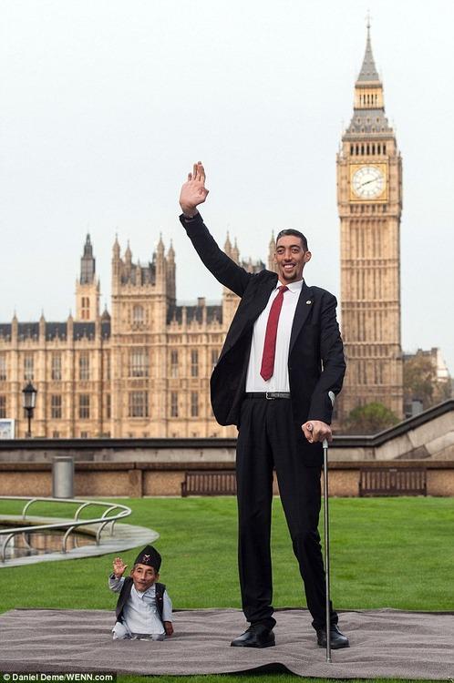 [画像]  世界で最も小さな男と世界で最も高い男が並んでツーショット写真…ギネス記念イベントで