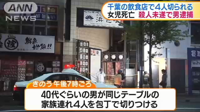 千葉・稲毛区で家族切り付け女児死亡 男を逮捕