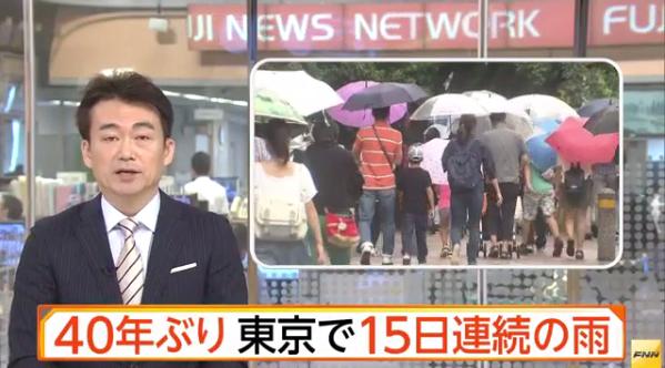 40年ぶり 東京で15日連続の雨