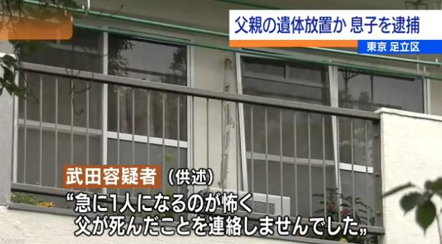 父親遺体放置か 61歳息子逮捕 NHK 首都圏のニュース