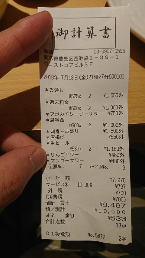料理3品しか頼んでないのに9,000円超えてて2人でびっくり、調べたらやべぇところだった