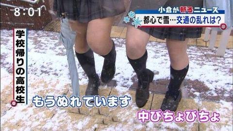 【画像】JKさん「雪やば…ミニスカはいて太もも丸出しで学校行こ」  グッドルーザーズ