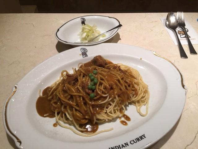 ときどき食べたくなるカレースパゲッティ♪@インデアンカレー 淀屋橋店