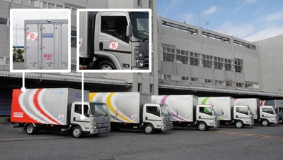 佐川急便5色トラック ハイブリッドはハイブリッドでも… 「ハイブリッド車」と言うと、 エンジ..