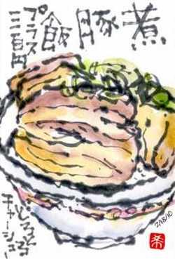 022410 絵手紙煮豚飯
