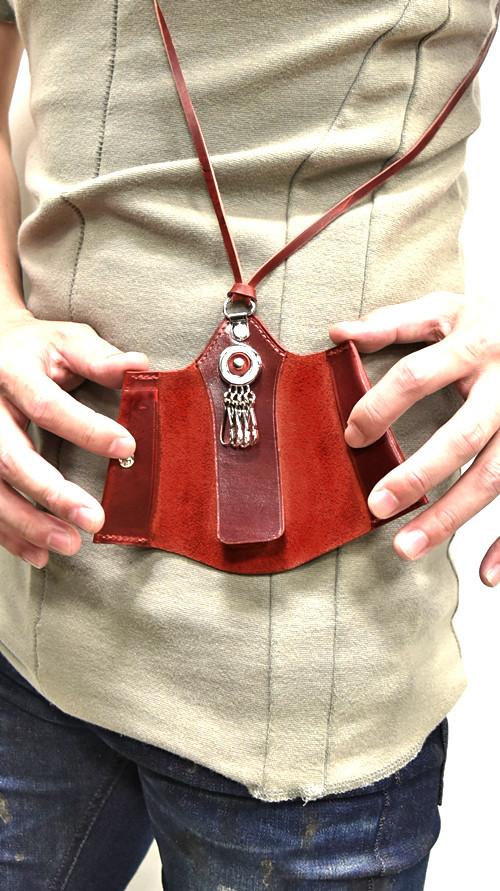 Portaille Neck Strap Key Case red 着用 通販 GORDINI004