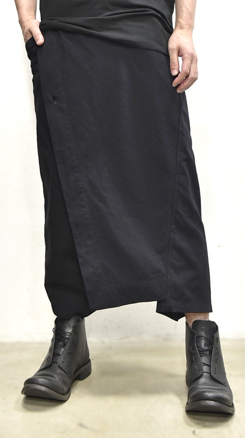 JULIUS wrap pants blk 通販 GORDINI001