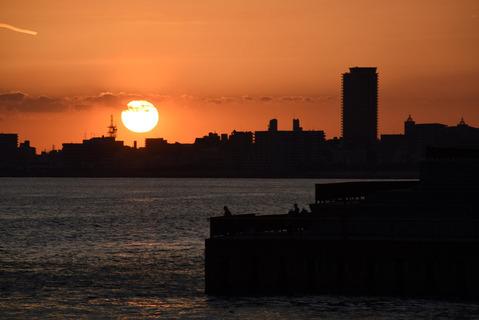 明石海峡大橋の夕陽6
