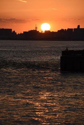 明石海峡大橋の夕陽7